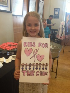 Kids for tge Cure shirt designed by NLR Crestwood Elemetary student Josie Kresewski
